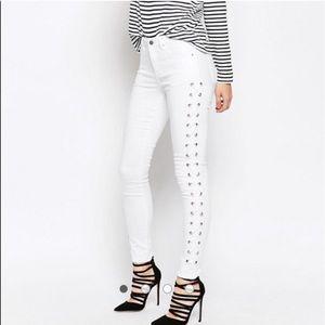 ASOS white jean lace up leggings